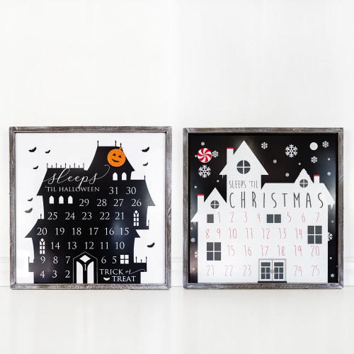 Reversible Christmas and Halloween Sign (#sleeps till) 24 x 24 x 1.5