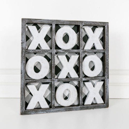 Wooden game, Tic Tac Toe, XO, 13x13x.75  with buffalo check