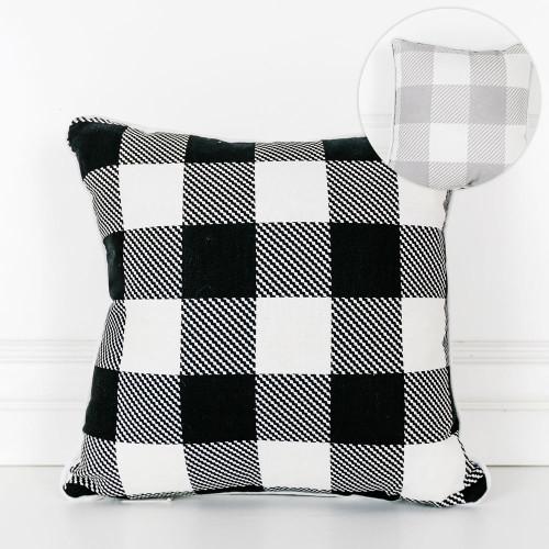 """14"""" X 14"""" Reversible Pillow (Buffalo Check) White/Grey/Black -"""
