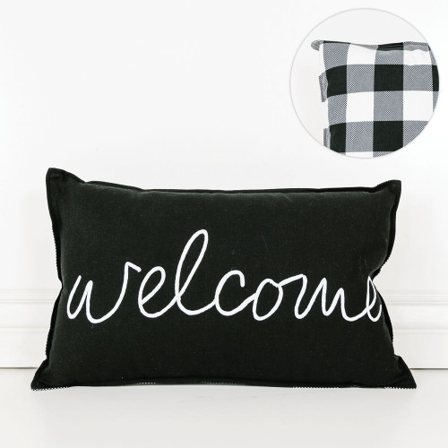 """20"""" X 12"""" Pillow (Welcome) Black/White"""