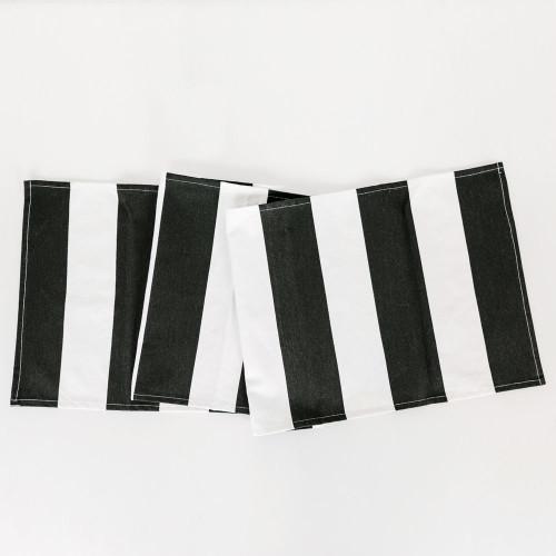 """15"""" X 65"""" Table Runner (Stripes) White/Black"""