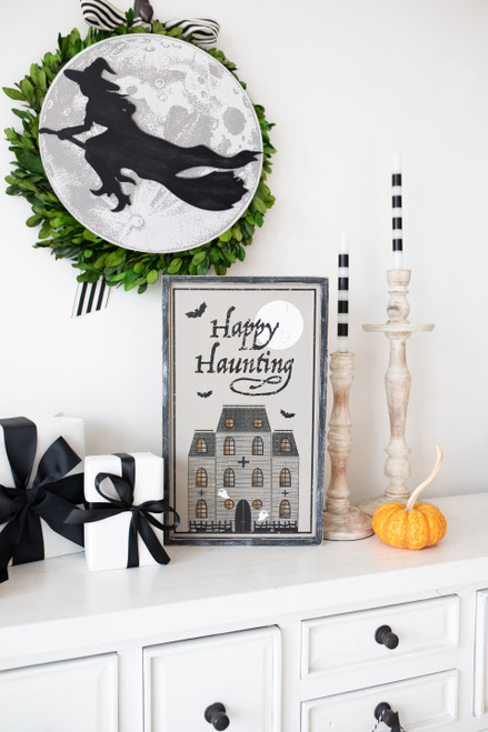 Light-up Halloween Haunted House Sign, gy/bk/wh, 12x20x1.5