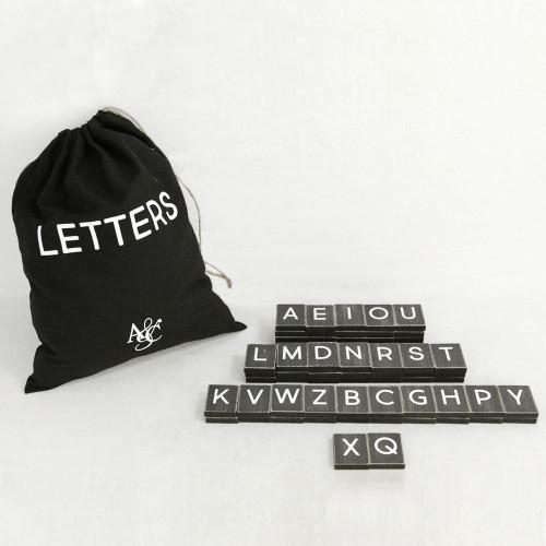 """10"""" X 12.5"""" X .25"""" Bag of 70 Pieces 1.5"""" X 1.75"""" X .25"""" (Letters Original Font) Black/White"""