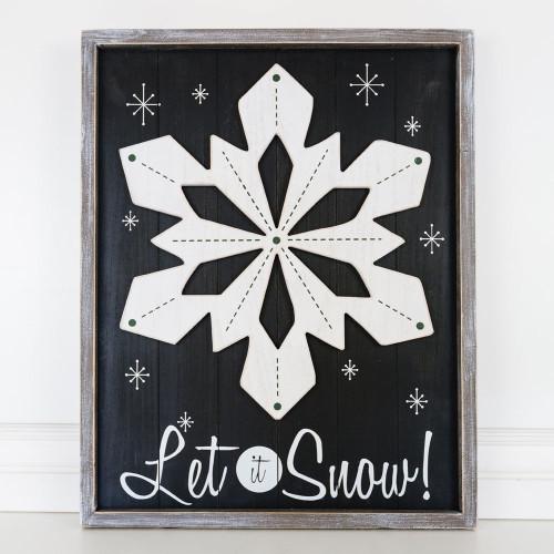 Large Let It Snow Sign, wooden reversible, Deck the Halls