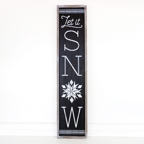 Let It Snow Wooden Sign, wd frmd sn (LT SNW) bk/wh 10 x 46 x 1.5