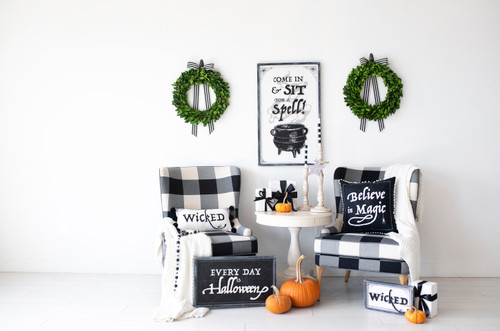 HUGE Sit A Spell Halloween Sign, Reversible for Christmas,  22 x 36 x 1.5