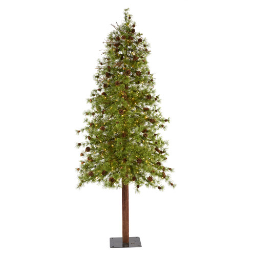 8' Wyoming Alpine Artificial Christmas Tree With 250 Clear (Multifunction) LED Lights And Pine Cones