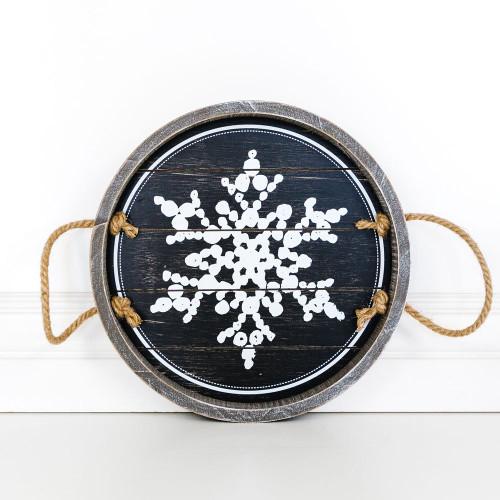 Snowflake Shiplap Tray, 12 x 12 x 1.5 wd shplp tray (SNWFLK) bk/wh