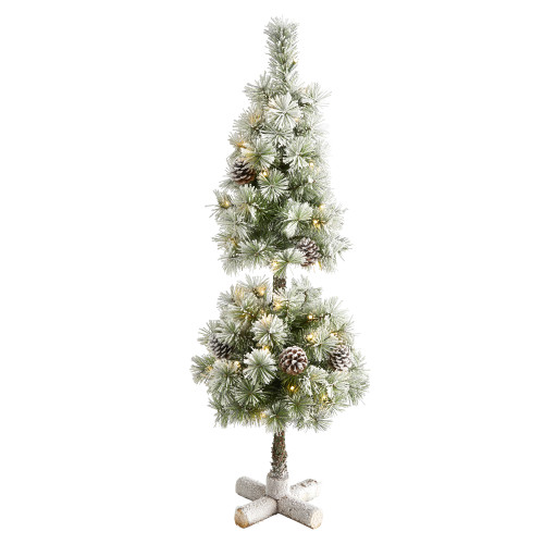 3ft Flocked Artificial Christmas Tree Topiary With 50 Warm White LED Lights And Pine Cones