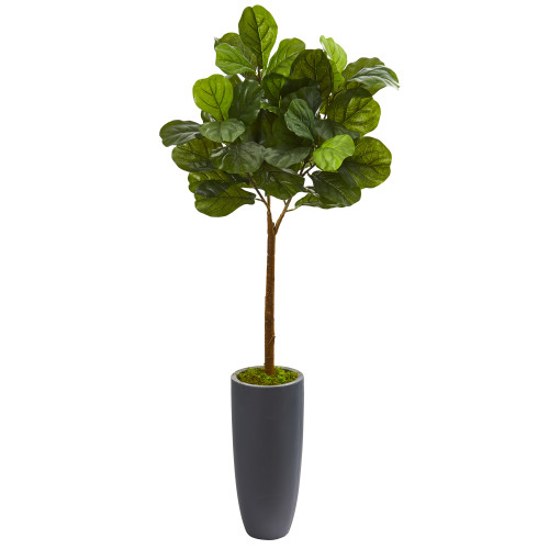 4.25 ft Fiddle Leaf Fig Artificial Tree In Gray Planter