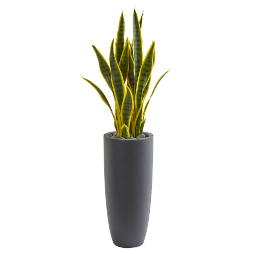 3 ft  Snake Plant Agave, Sansevieria Artificial Plant In Gray Planter