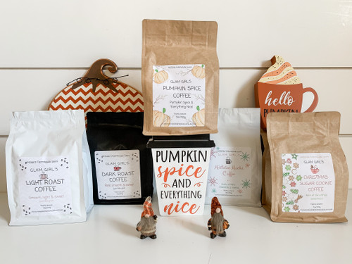 Choice any combination of 5 Glam Girl Coffees and pick your seasonal Fall gift at checkout!