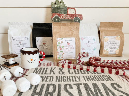 At checkout, choose any combination of 5 Glam Girl's Coffees and your choice of seasonal Christmas Gift!