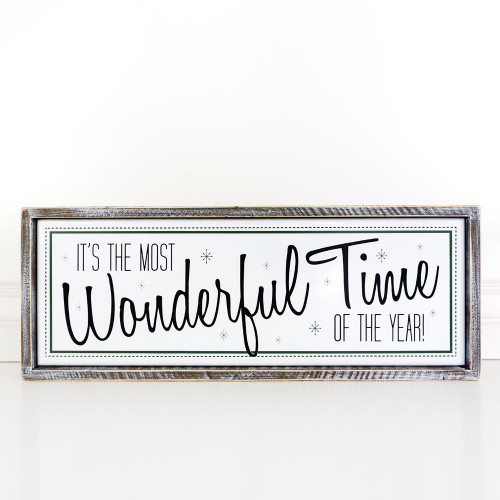 It's the Most Wonderful Time of the Year, framed Christmas Sign 23.5x9x1.5