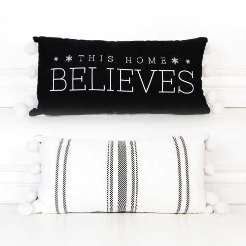 This House Believes, Christmas Pillow, reversible, 20x10 linen plw (BLVS) bk/wh