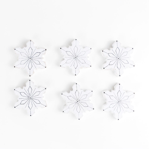 Snowflake Wood Shapes, set of 6 , 2 x 2.25 x .25  Fits on a letter board or us as a Christmas decoration, cute in your Coffee or Hot Cocoa Bar!
