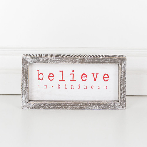 """Wood Framed Christmas Sign (Believe In Kindness), White/Red, 8.5"""" X 4"""" X 1.5"""""""