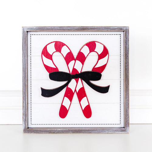Candy Cane w/Ribbon wooden Christmas sign 12 x 12 x 1.5