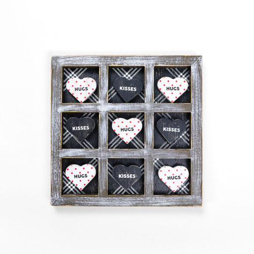 Valentine's Day Tic Tac Toe Wooden Hearts Game XOXO 13 x 13 x .75