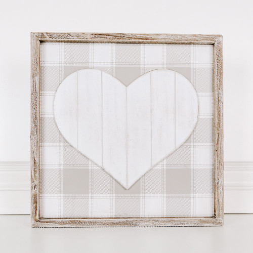 """Wood Framed Heart Valentine's Day Sign 14"""" X 14"""" X 1.5"""""""