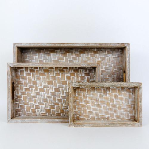 Set of 3 Bamboo Trays, 8x2.5x12, 14x2x9, 10x1.5x4
