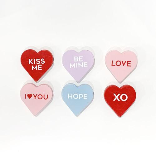 Conversation Hearts, Wooden, Valentine's Day 1.75x1.75x.25