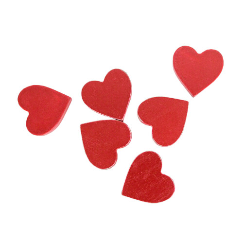 """Set of 6 Red Wooden Valentine's Day Hearts 1.75"""" X 1.75"""" X .25"""""""