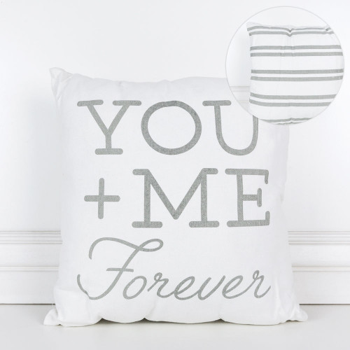 """16"""" X 16"""" X 4"""" Canvas Pillow (You + Me Forever), White/Gray, Valentines Day"""