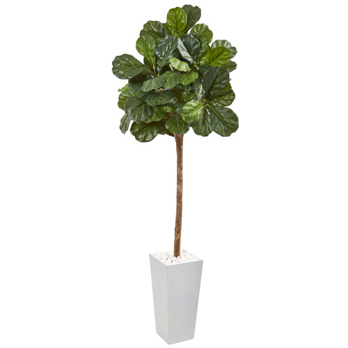 """6.24 ft (75"""") Fiddle Leaf Fig Artificial Tree In White Planter"""