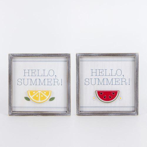 Reversible Wooden Sign, Summer Watermelon/Lemon 10 x 10 x 1.5 Spring/Summer Home Decor