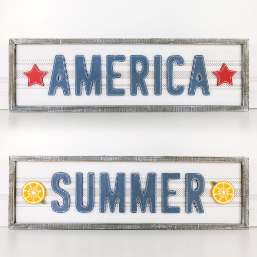 Reversible Wooden Sign, Summer with Lemons/America with Stars, 32 x 9 x 1.5