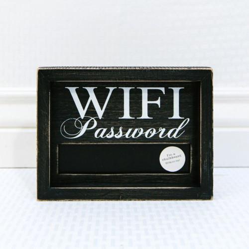 "Wooden Framed Chalkboard Sign (Wifi Password), 6"" X 8"" X 1.5"""