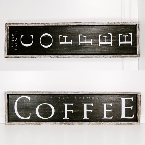 """37"""" x 9"""" x 1.5"""" Wood Framed Reversible Sign (Fresh Brewed Coffee)"""