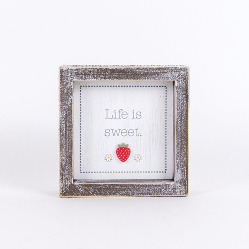 Wooden Framed Strawberry Sign, Life is Sweet 5x5x1.5
