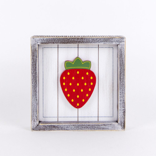 Wooden Shiplap Strawberry Sign 7x7x1.5