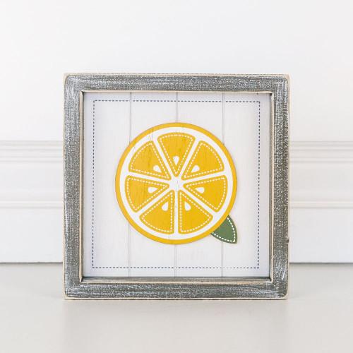 Wooden Shiplap Lemon Sign, 7x7x1.5
