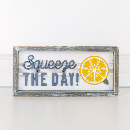 Squeeze the Day Lemon Wooden Framed Sign, Summer 13x6x1.5
