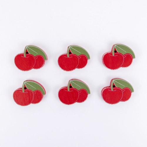 Set of 6 Wooden Cherries, 2.25x1.75x.25 wd shps s/6 (CHERRY)
