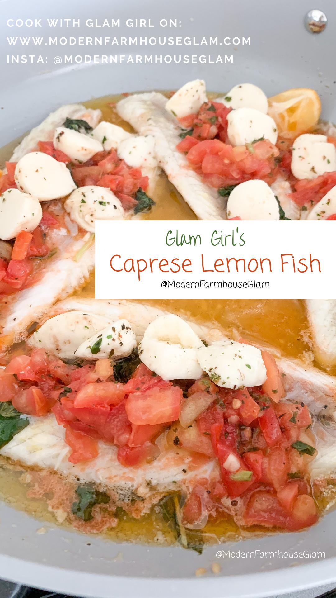 Caprese Lemon Fish REcipe and cooking Video, Dinner Ideas, Healthy Dinner Recipe
