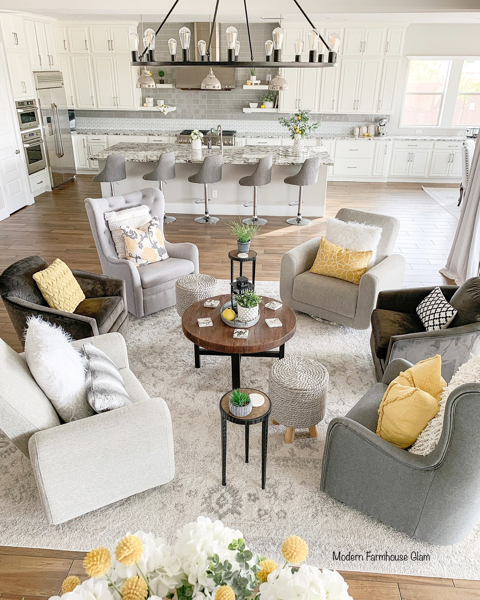 Modern farmhouse glam home decor, mustard yellow and grey colors of the year decor accents