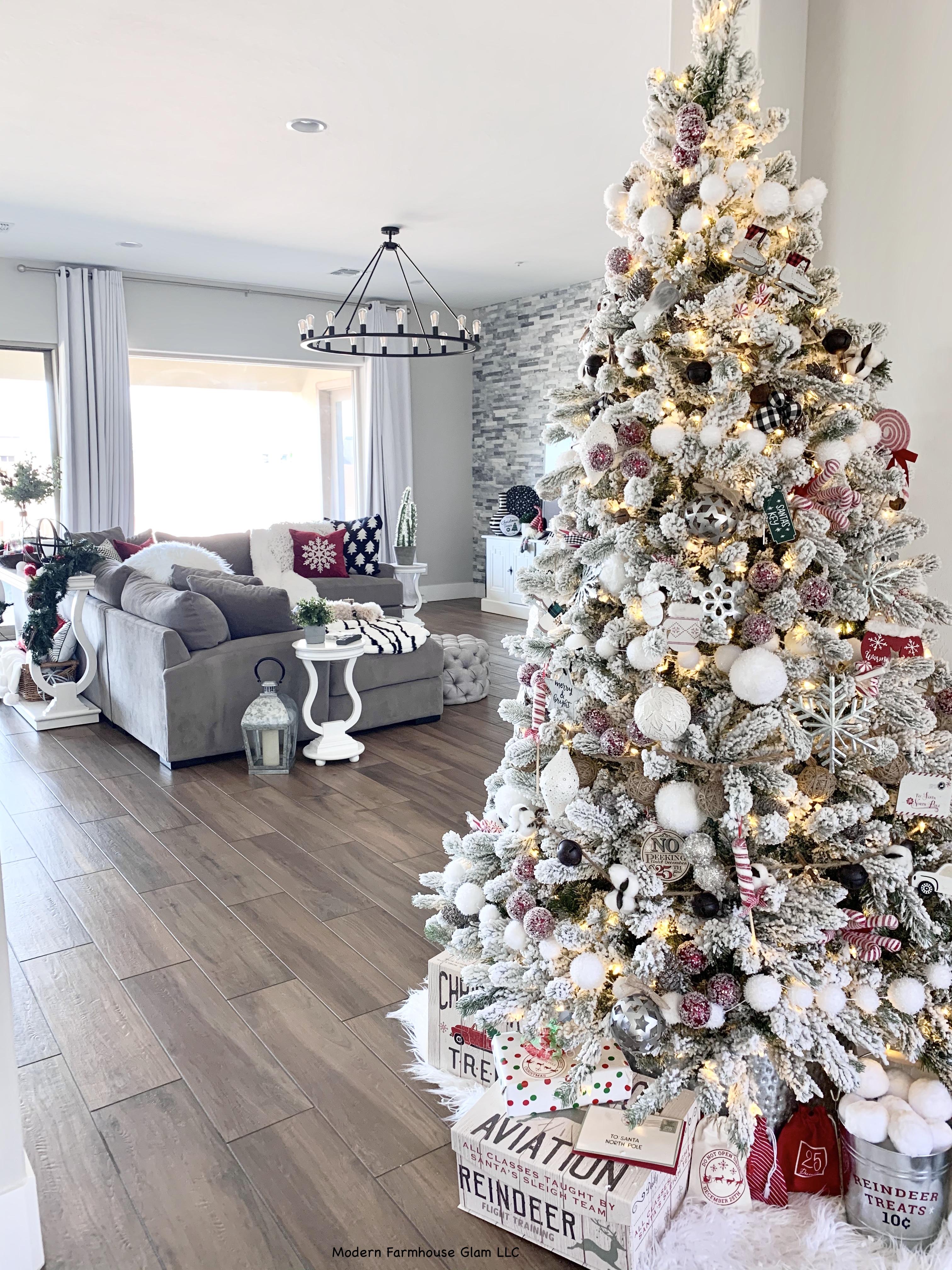 Flocked Christmas Tree, Modern Farmhouse Christmas decorations