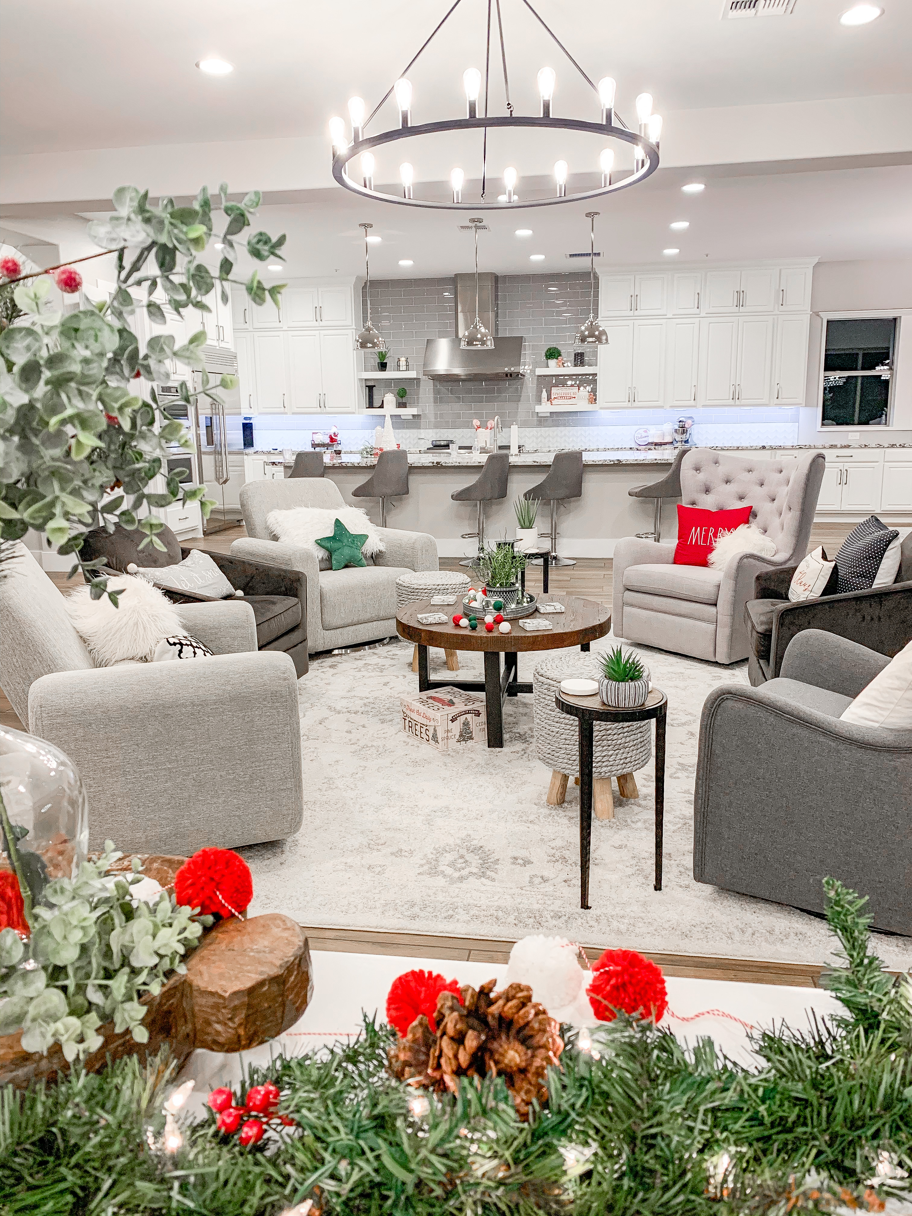 Modern Farmhouse Glam living room furniture, area rug, Christmas decorations, lighting, coffee table, accent table, kitchen bar stool