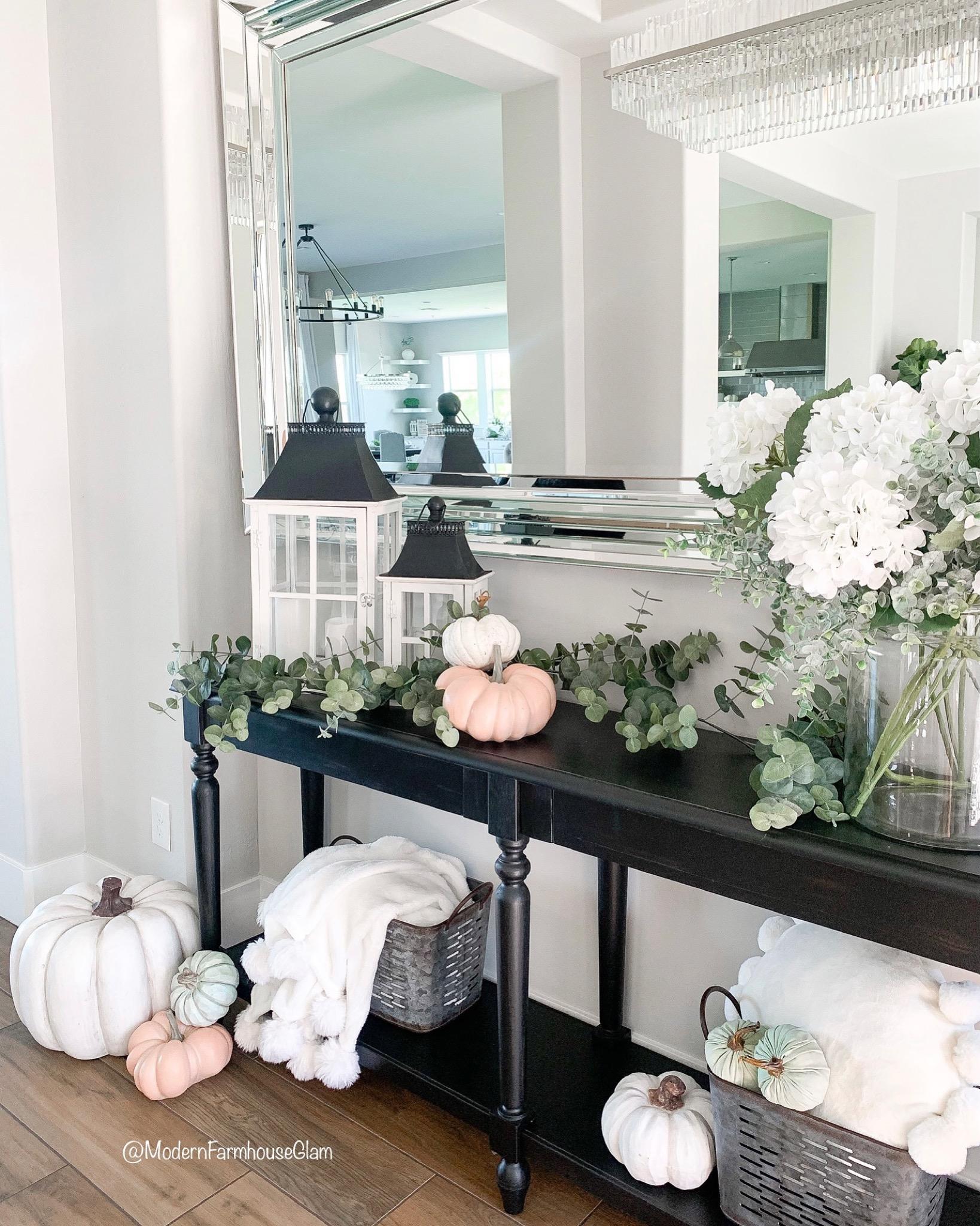 fall modern farmhouse glam home decor and entryway decor