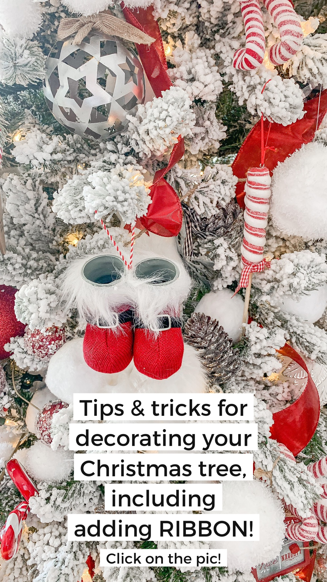 Tips for decorating your flocked Christmas tree with ribbon and ornaments. Christmas decor, decorating, interior design, Christms tree ribbon.
