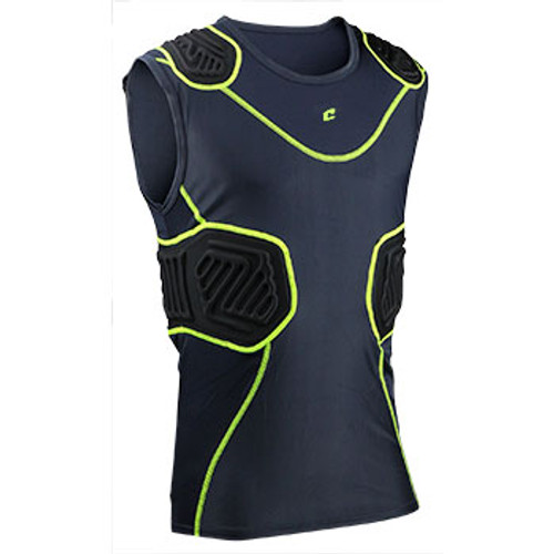 Bull Rush Compression Padded Shirt Adult, Graphite/Black/Neon