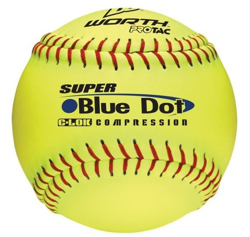 "Worth12"" Super Blue Dot Cor 47/525 Comp, non association Slowpitch Softball, Each"