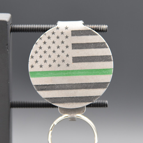 Green Line American Flag Pocket Clip Keychain
