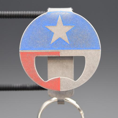 Texas Flag Bottle Opener Pocket Clip Keychain