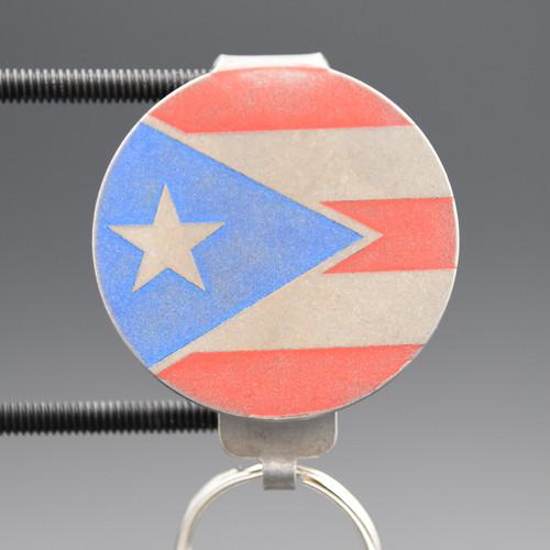 Puerto Rico Flag Pocket Clip Keychain