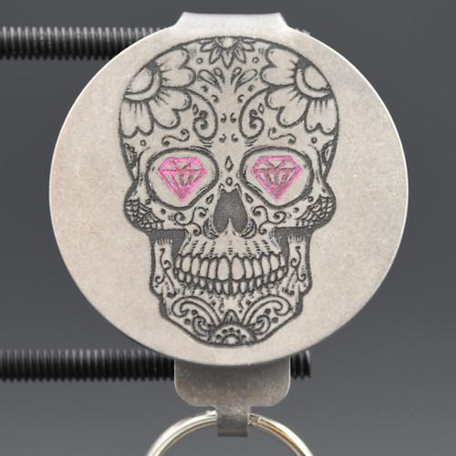 Dia de Los Muertos Skulls Pocket Clip Keychain